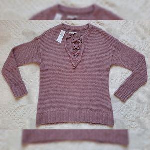 AEO Medium lace up front sweater waffle knit